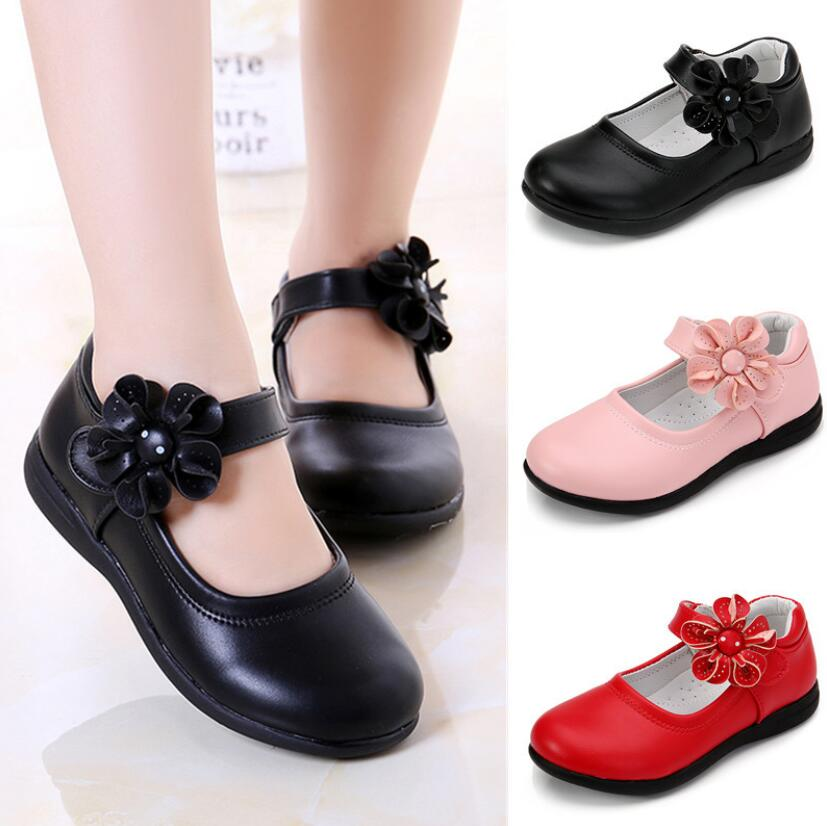 Girls Leather Shoes for Children Wedding Dress Princess School Shoes Kids Summer Bow-knot Black Stud