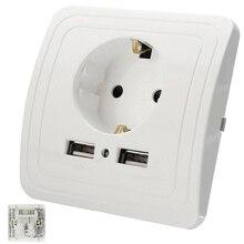 Adaptateur de chargeur mural 16A   Port USB double, panneau de prise de courant 110 ~ 250V pour maison intelligente