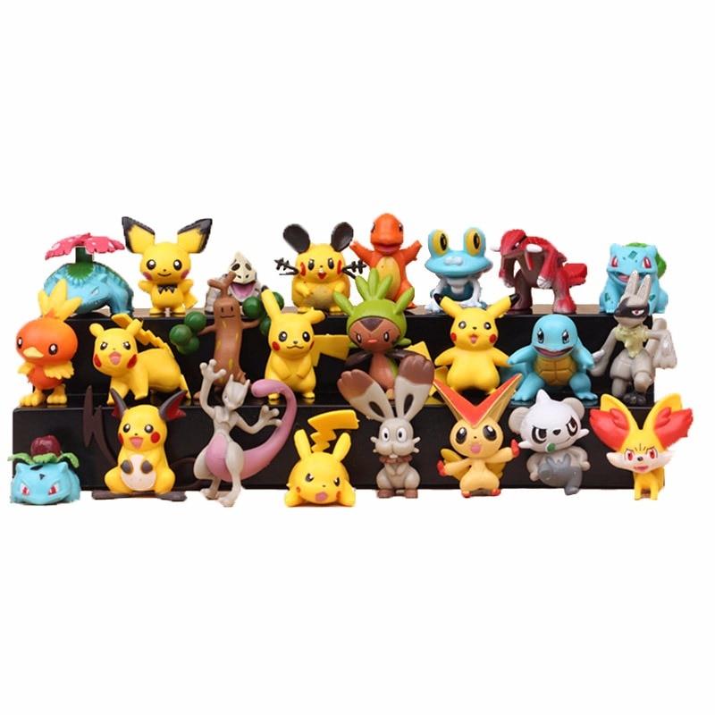 Аниме игрушки Пикачу 24 шт./компл. 4-5 см, рождественские подарки для детей, Мультяшные аниме Покемоны, экшн-фигурки, игрушки, модель, декоратив...