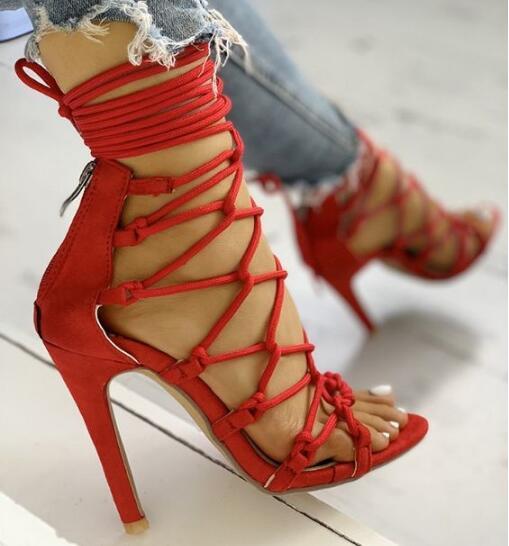 ¡OFERTA de verano! Sandalias cruzadas con cordones para mujer, sandalias rojas, verdes, blancas, rosas, de Gladiador, tacón fino, sandalias sexis para fiesta, zapatos