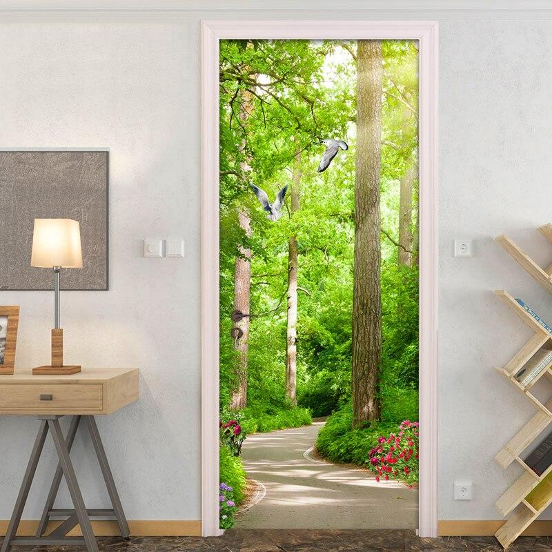 Настенные 3D-обои с изображением леса, маленькой дороги, природного ландшафта, водостойкие самоклеящиеся дверные наклейки, дверные 3D наклей...