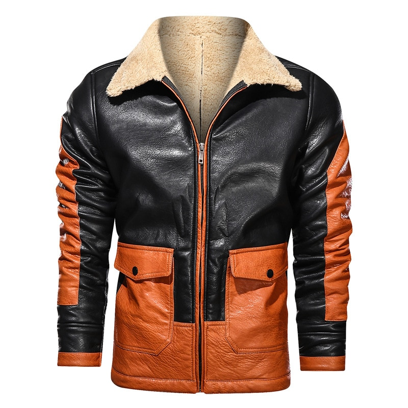 Winter Fashion Men Faux Fur Suede Zipper Coats Winter Thick Warm Leather Jacket Mens Motorcycle Jacket Outdoor Casual Overcoat