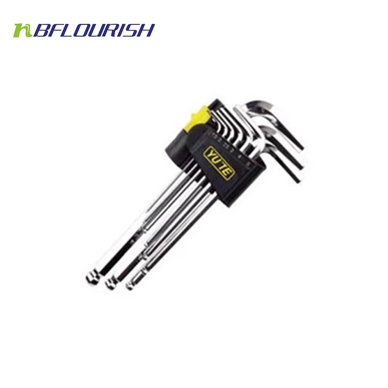 Free Shipping Wholesale 30sets/lot  Yute 9PCS Long Arm Imperial Hex Key Set Cr-V Allen L Wrench Tool Setv hex key spanner