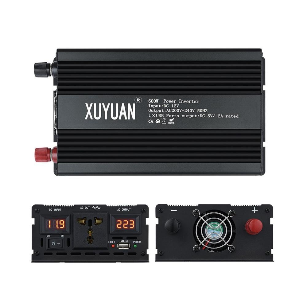 Inversor doméstico XUYUAN 12 V-220 V 600W transformador de voltaje inversor de energía de onda sinusoidal pura Digital con aire acondicionado