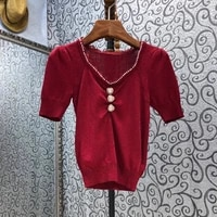 2021 summer fashion sweater pullovers high quality women v necck beading button deco short sleeve casual wine red jumpers