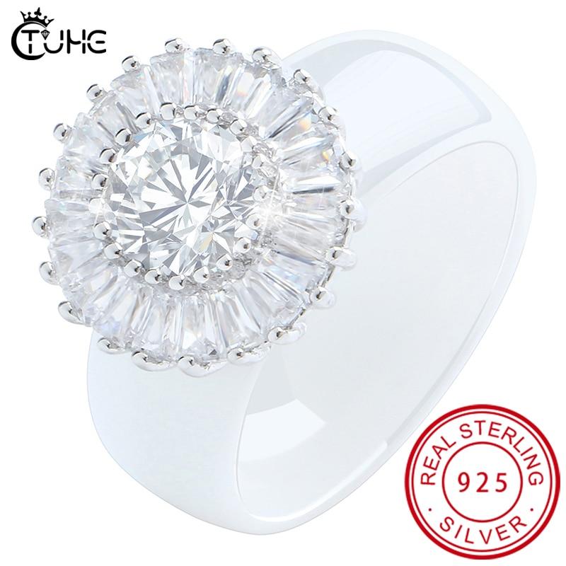 100% S925 plata esterlina elegante mujer deslumbrante anillo de flores CZ circón aniversario anillos de cerámica saludables compromiso de boda