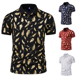 2021 Brand Summer New Men Tennis Shirt Feather Printed Straight Tops Short Sleeve Tees Breathable Tee Shirt with Buttons