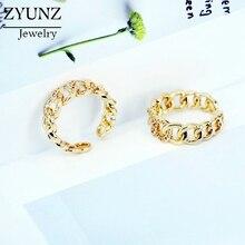 4 pces, círculo redondo link corrente forma única feminino menina jóias pave cz geométrico simples hip hop gelo para fora anel