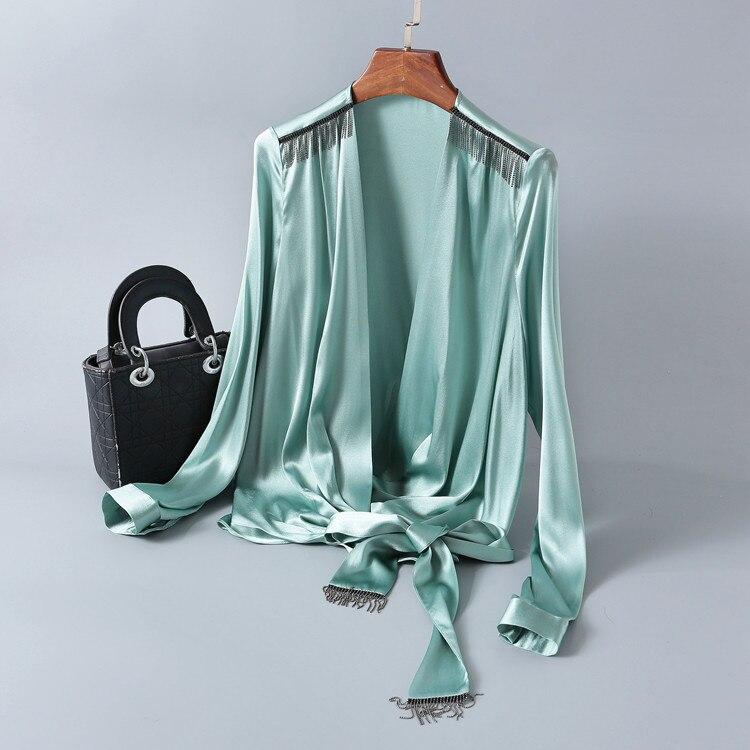 Camisa de seda mujer cuello en V manga larga borla costura Color sólido encaje-up primavera moda camisas elegantes mujer S-XL