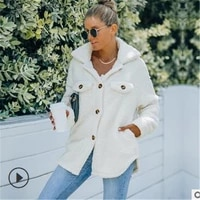 winter fashion women plush warm coat solid color turn down collar long sleeve greatcoat jacket casual loose cotton padded jacket