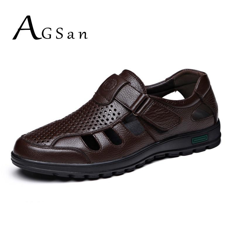 جلد طبيعي الصنادل الرجال الصيف حذاء كاجوال تنفس مكتب حذاء رسمي السادة الكلاسيكية في الهواء الطلق الأحذية البني الأسود