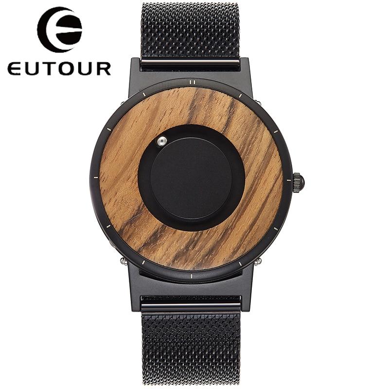 EUTOUR Wood Watch Quartz Men Watches Magnetic Magnet Metal Beads Ball Men's Wooden Dial Black Man TODO Creative Men's Reloj Saat