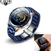 lige men steel band smart watch heart rate blood pressure monitor sport multifunction mode fitness tracker waterproof smartwatch