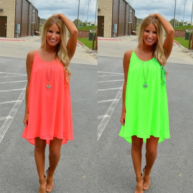 Women beach dress fluorescence female summer chiffon voile women style clothing plus size lyq01