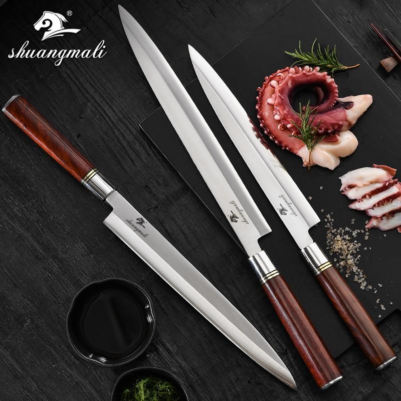 Japanese Sashimi Kinfe Germany 1.4116 Steel Sushi Chef Kitchen Knife Yanagiba Filleting Salmon Fish Cleaver Slicing Knive