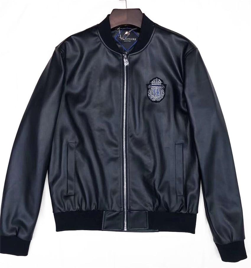 2021 new fashion Billionaire Genuine Leather  leather jacket leather Opel jacket men black leather coat jacket size 48~56