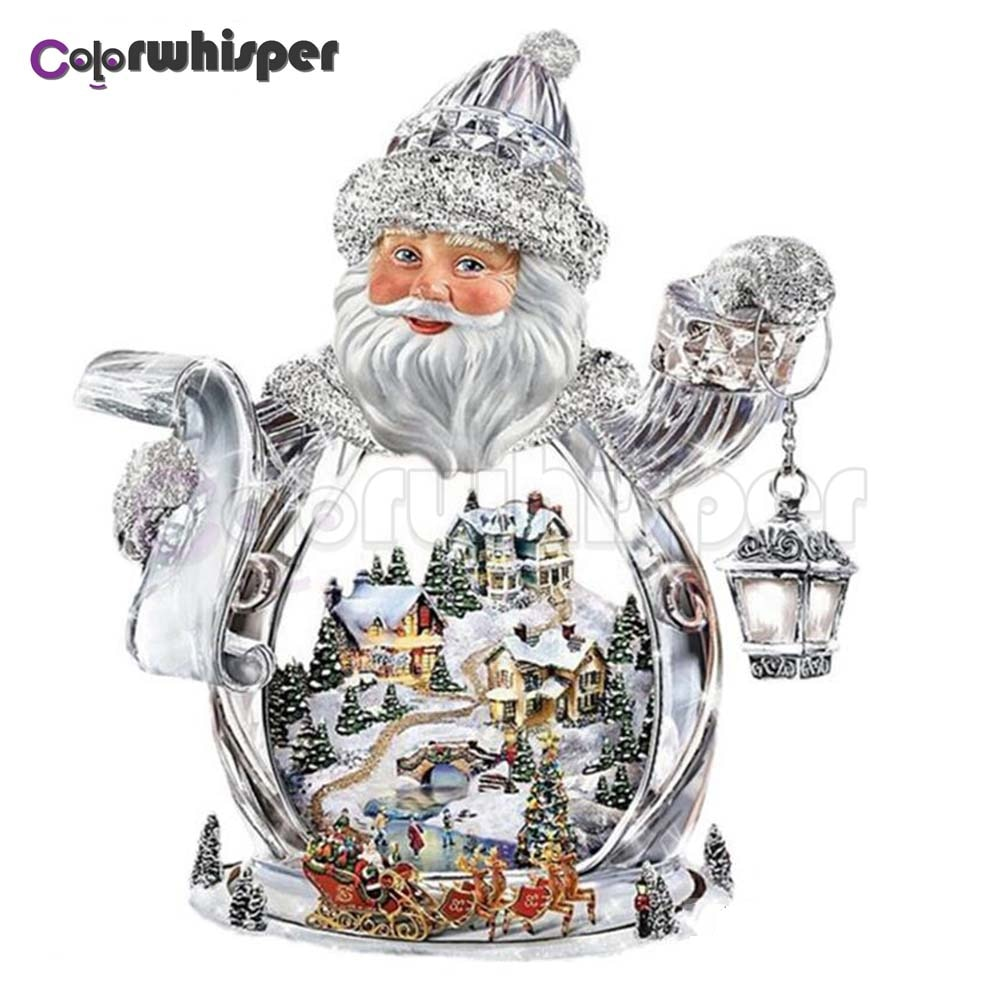 Pintura de diamante cuadrado completo/taladro redondo Santa Claus nieve paisaje 5D Daimond pintura bordado punto de cruz mosaico foto Z443