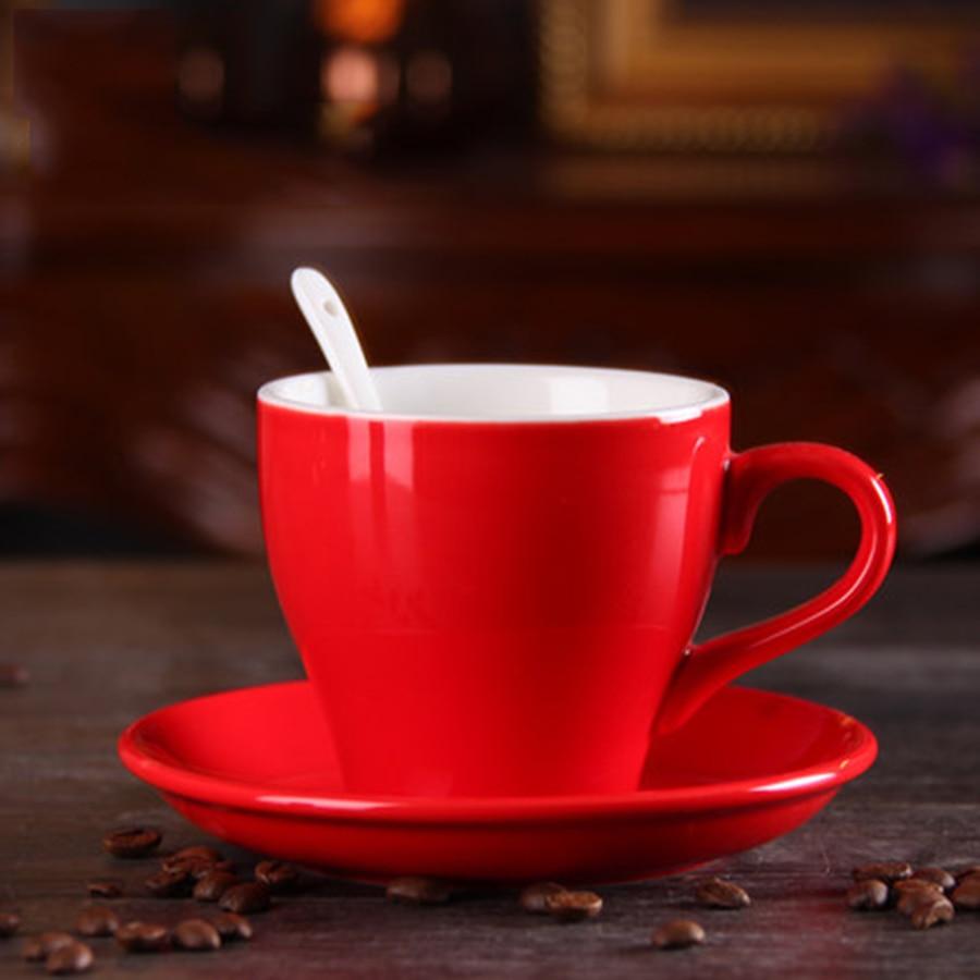 Taza Cappuccino sólido Vintage hueso chino hermosa taza de café rojo azul té de China Retro ahve Fincanlar regalo británico LZI125