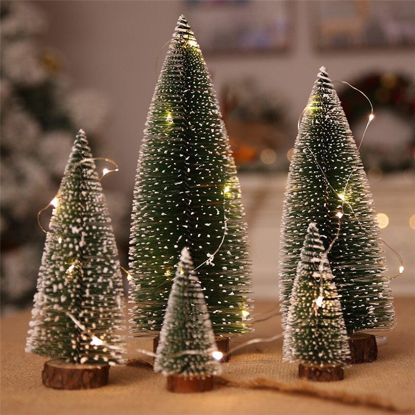 Mini árbol de navidad de Año Nuevo, pequeño Pino, adornos de escritorio,...