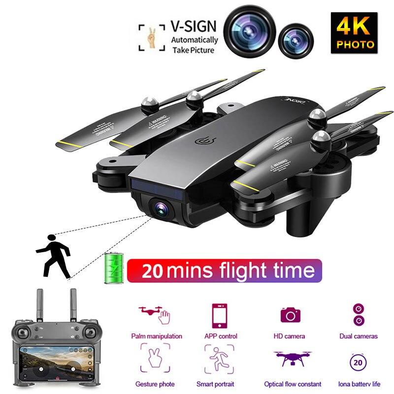 أفضل واي فاي FPV RC الطائرة بدون طيار 4K مع كاميرا مزدوجة 50x التكبير Selfie المهنية طوي البصرية تدفق كوادكوبتر هليكوبتر