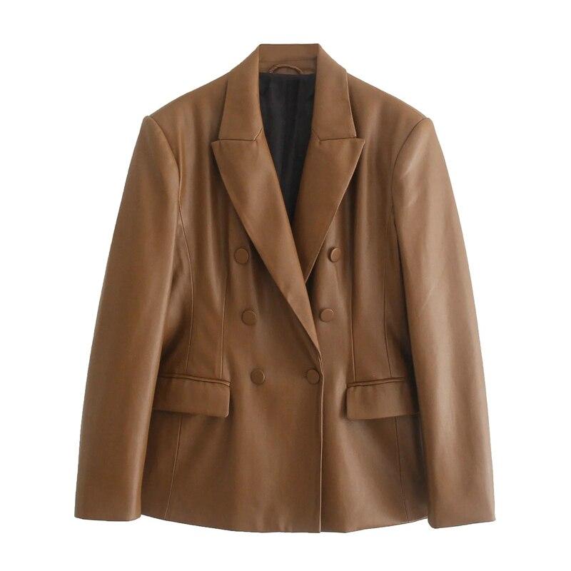 XNWMNZ 2021 الخريف شيك براون بولي Jackets المرأة جاكيتات طويلة الأكمام مزدوجة الصدر الخامس الرقبة معاطف فضفاضة الإناث المتضخم سترات رجالي