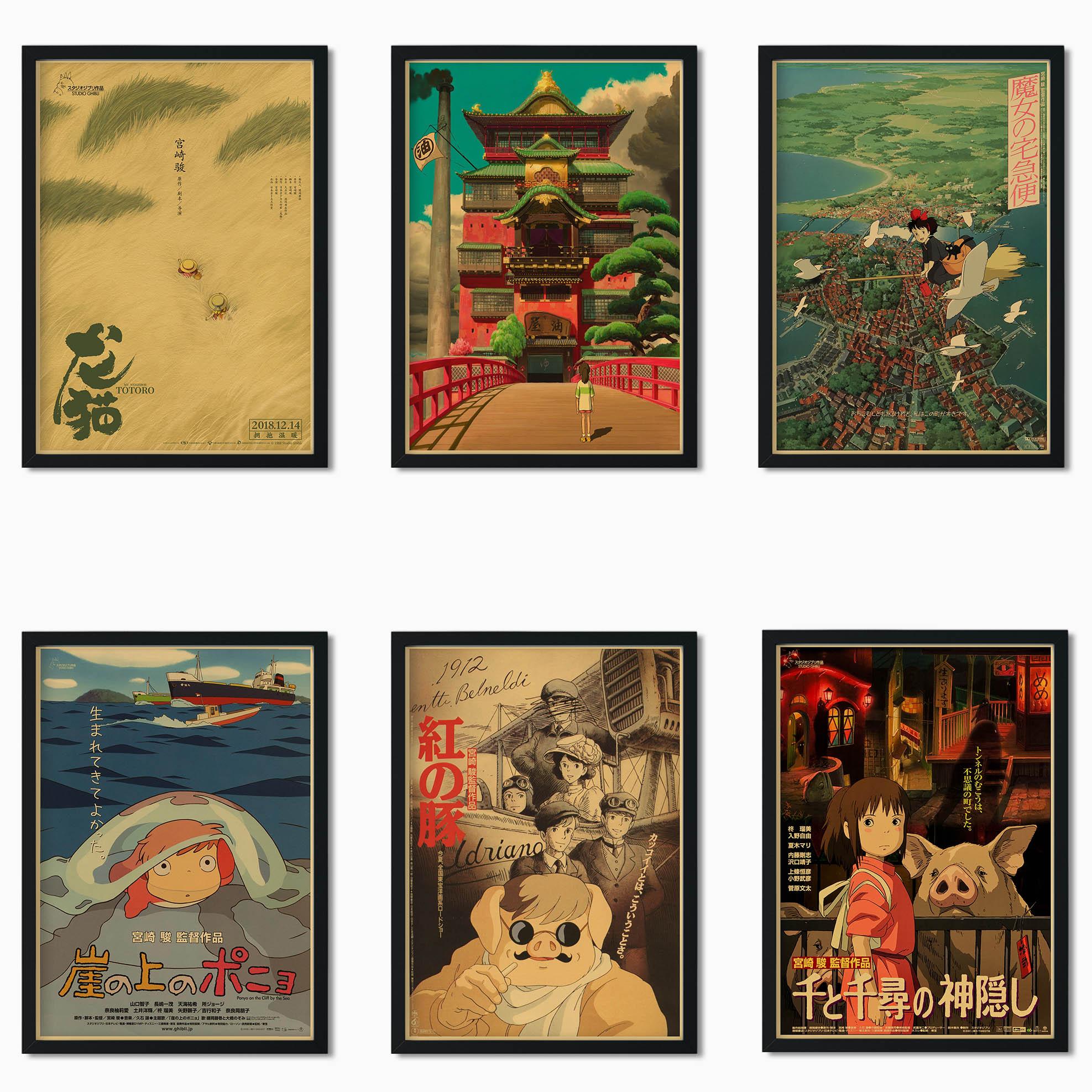 Tableau de manga japonais Hayao Miyazaki, maître de peinture, avec spirit Away/Princess Mononoke/mon voisin Totoro, affiche de style rétro, o34