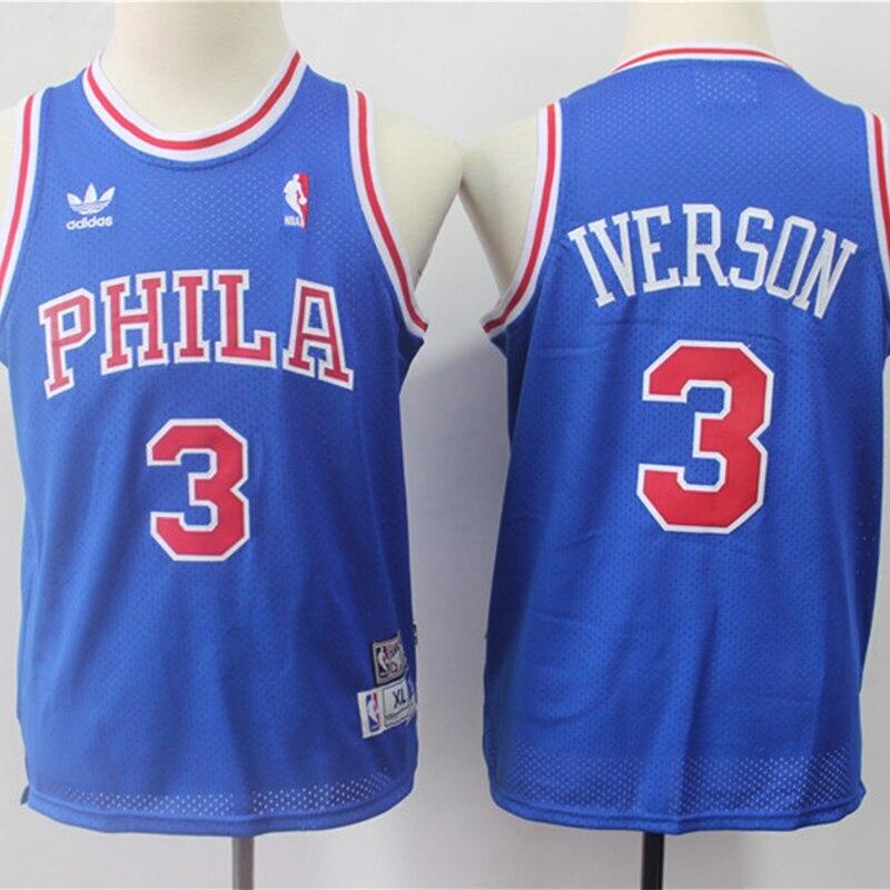 La NBA niños Filadelfia 76ers #3 Allen Iverson camisetas de baloncesto Retro...
