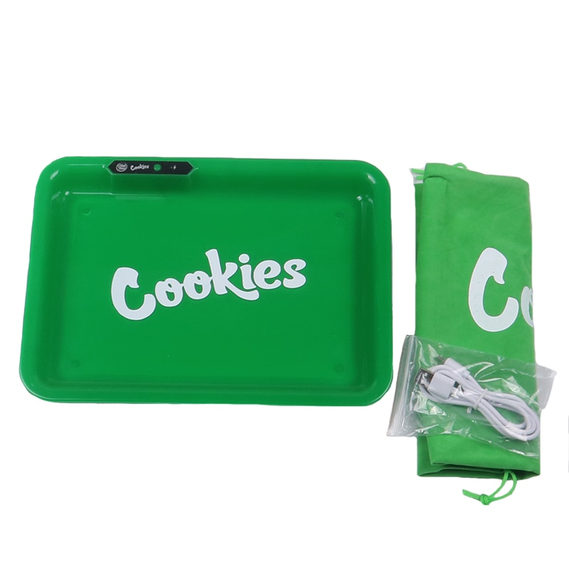8pc cookies Music Control Glow Tray Smoking Accessories Square LED Tobacco Rolling Tray Handbag Cigarette Box Portable Gift men enlarge
