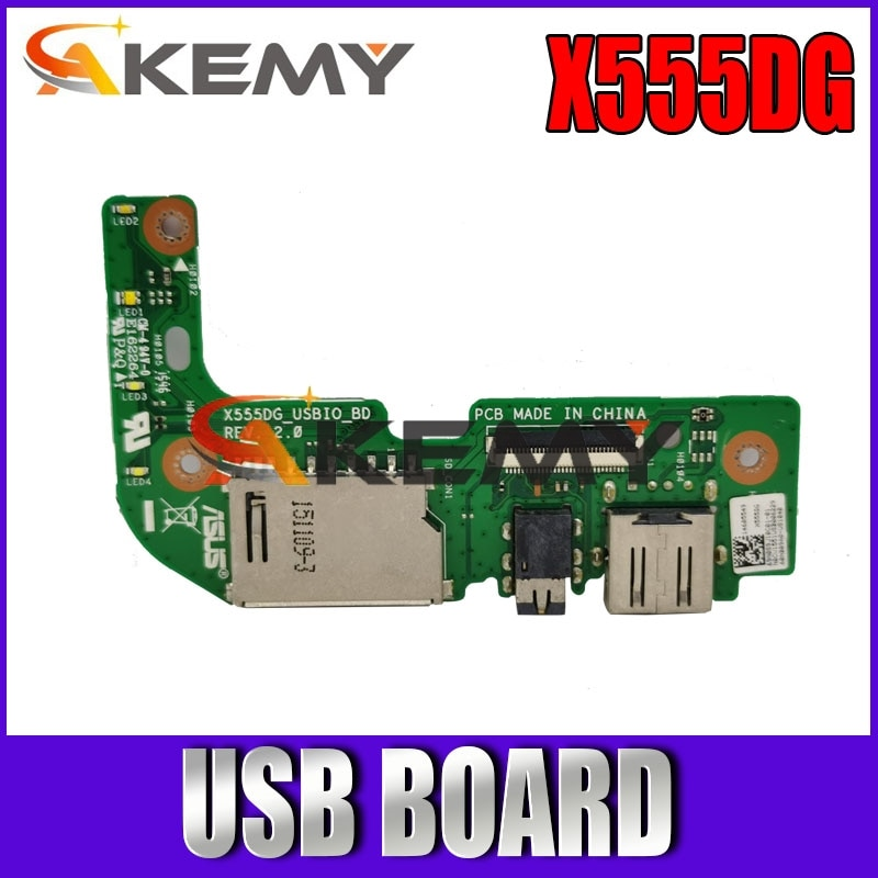 Akemy Original For Asus X555 X555DG USB IO AUDIO CARD READER BOARD REV:2.0 With Cable MB 100% Tested Fast Ship