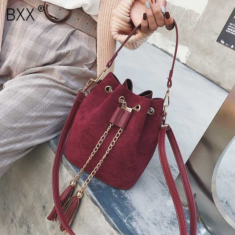 [BXX] PU Leather Tassel Chain Crossbody Bucket Bags For Women 2021 Spring New Shoulder Messenger Bag Female Handbag HK494