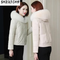 shzq 2021 winter new leather down jacket womens short sheepskin fur coat fox fur collar plush fur coat