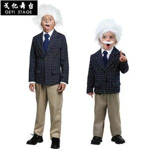 Baby Boys Little Scientist Costume Toddler Einstein Coat+Wig+Beard Scientist Halloween Costume For Kids Purim Party Cosplay