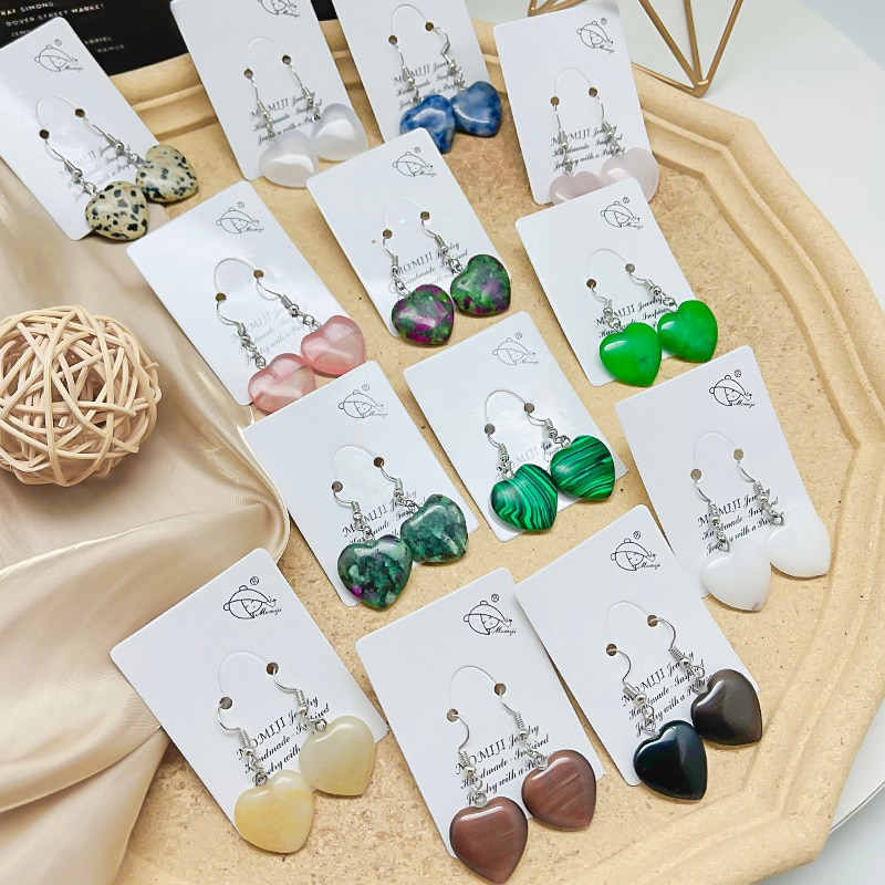 New Vintage Heart Natural Stone  Earrings Statement  Drop Earring For Women 2021 Fashion Hanging Dangle Earring Party Jewelry