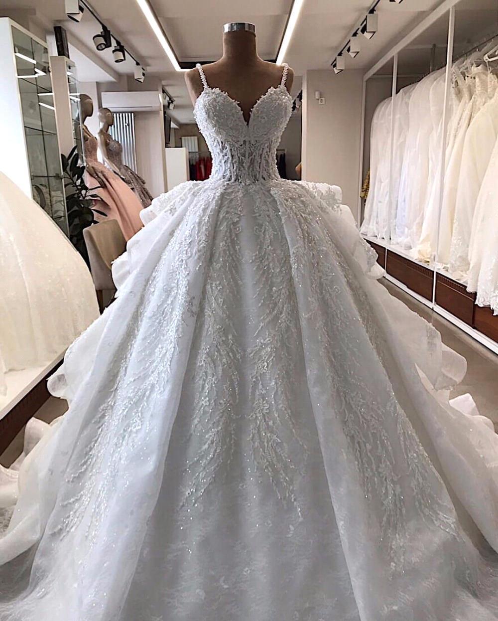 رداء دي ماري 2020 فستان زفاف فاخر بدون ظهر الأميرة زين فساتين زفاف بدون حمالات مع فستان متدرج الزفاف