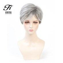 Perucas cinzentas curtas para mulheres natureza encaracolado peruca sintética resistente ao calor cosplay diário festa peruca cinza branco mix