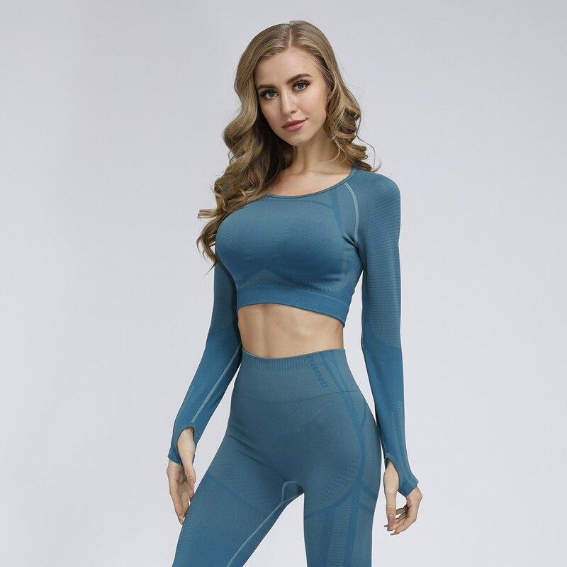 Camiseta corta de manga larga sin costuras para Yoga con Agujeros de pulgar, ropa deportiva para gimnasio y gimnasio, camiseta para mujer