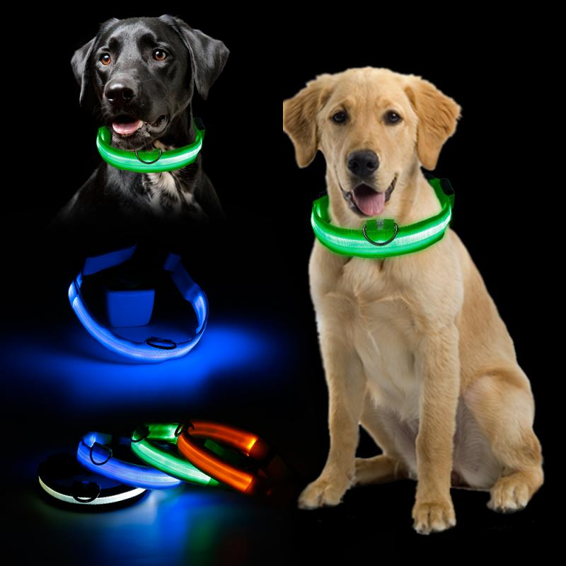 Nylon LED Dog Leash At Night Luminous Anti-Lost Leash   Adjustable Neck Strap Dogs Puppies LED Glowing Leashes Dropship TSLM1