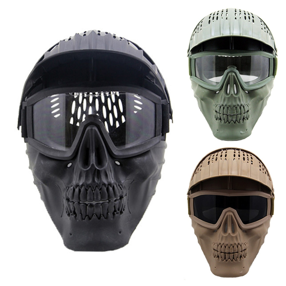 Tactical Paintball Airsoft Full Face Mask Detachable Goggles Combat Helmet Mask Military Hunting Shooting Protective Equipment airsoft paintball tactical helmet protective fast helmet abs tactical mask with goggles cs equipment
