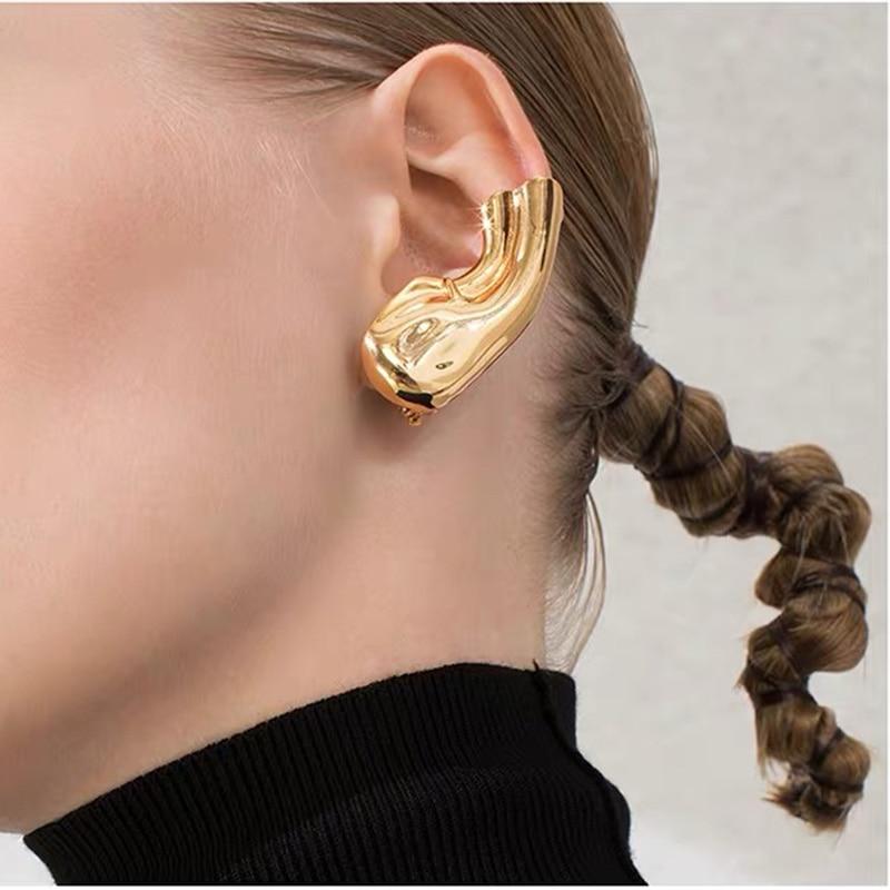 Pendientes de latón con Armour de oro de 18K, joyería para mujer, vestido de fiesta Punk, vestido de pasarela, Boucle coreano japonés INS Boho Top gótico