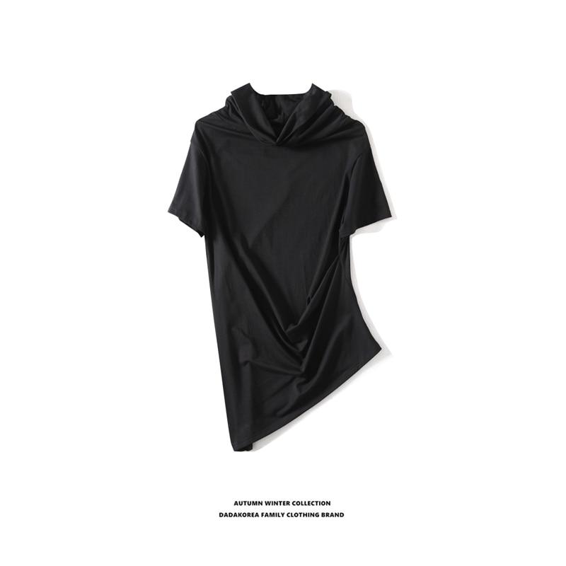Dadakorea verão tendência coreana magro casual irregular bainha oblíqua personalidade bottoming camisa masculina de manga curta