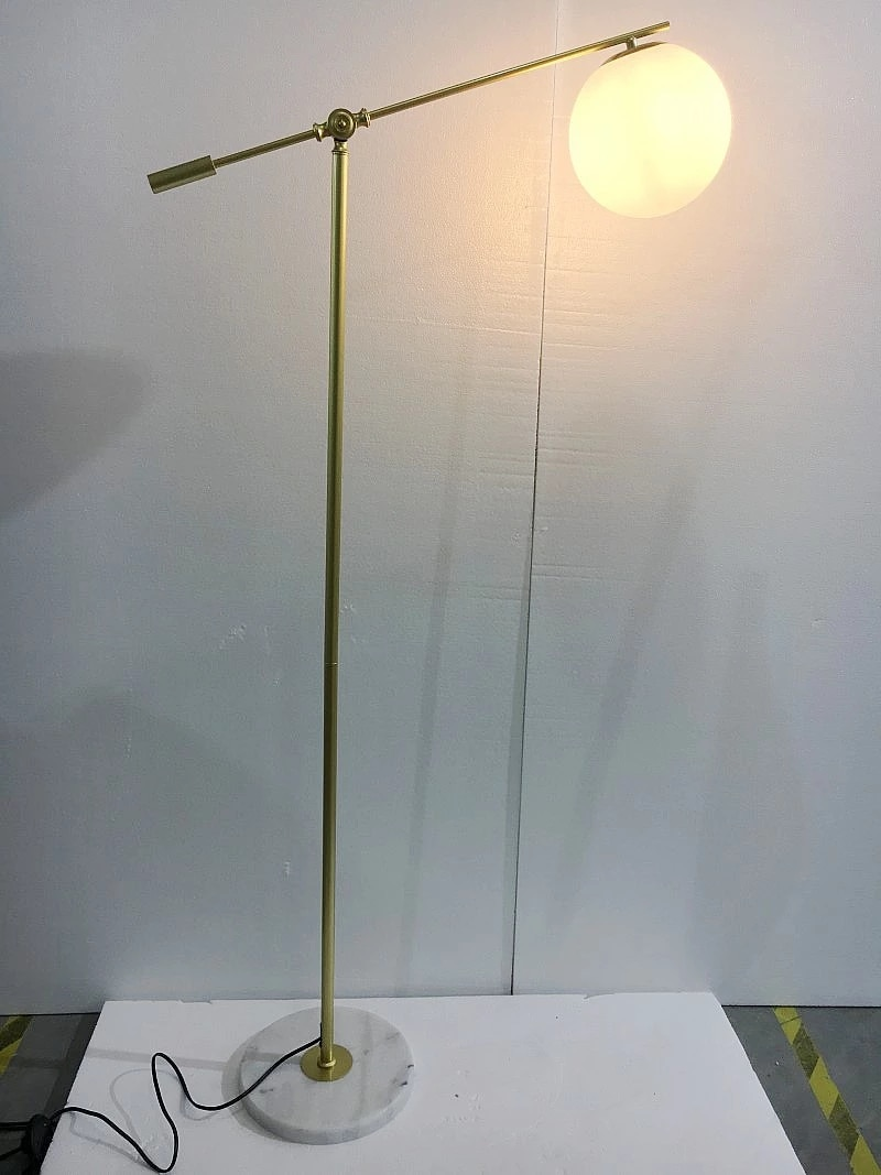 lampada de chao de vidro com base em marmore ou nordico lampada de canto moderna