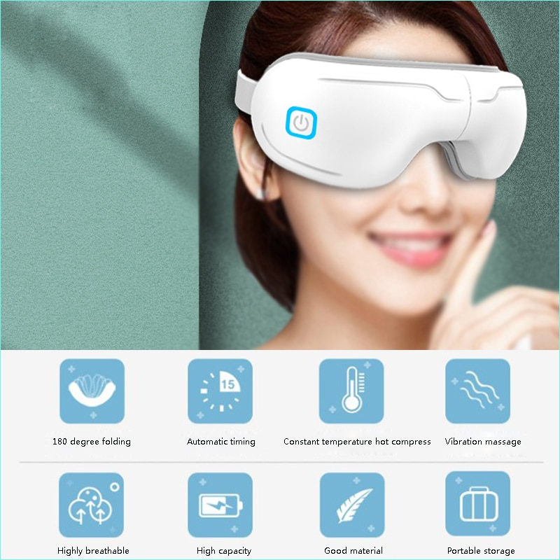 Vibration Eye Massager Eye Care Device Eye Fatigue Relieve Vibration Hot Compress Therapy Massager Music Foldable Eye Protection