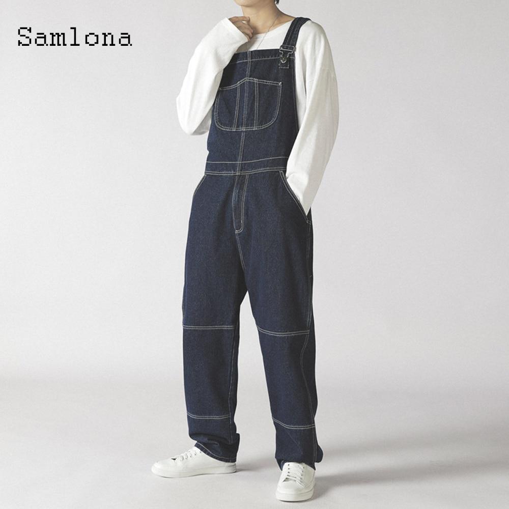 Джинсовый комбинезон Samlona размера плюс 5XL мужской, повседневный джинсовый комбинезон 2021, брюки на подтяжках в европейском и американском ст...
