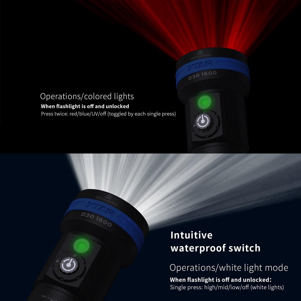XTAR D30 1600 Diving Flashlight CREE XHP35LED 1600lumen UV/RED/BLUE light underwater 100 Meters diving torch  Diving Flashlight enlarge