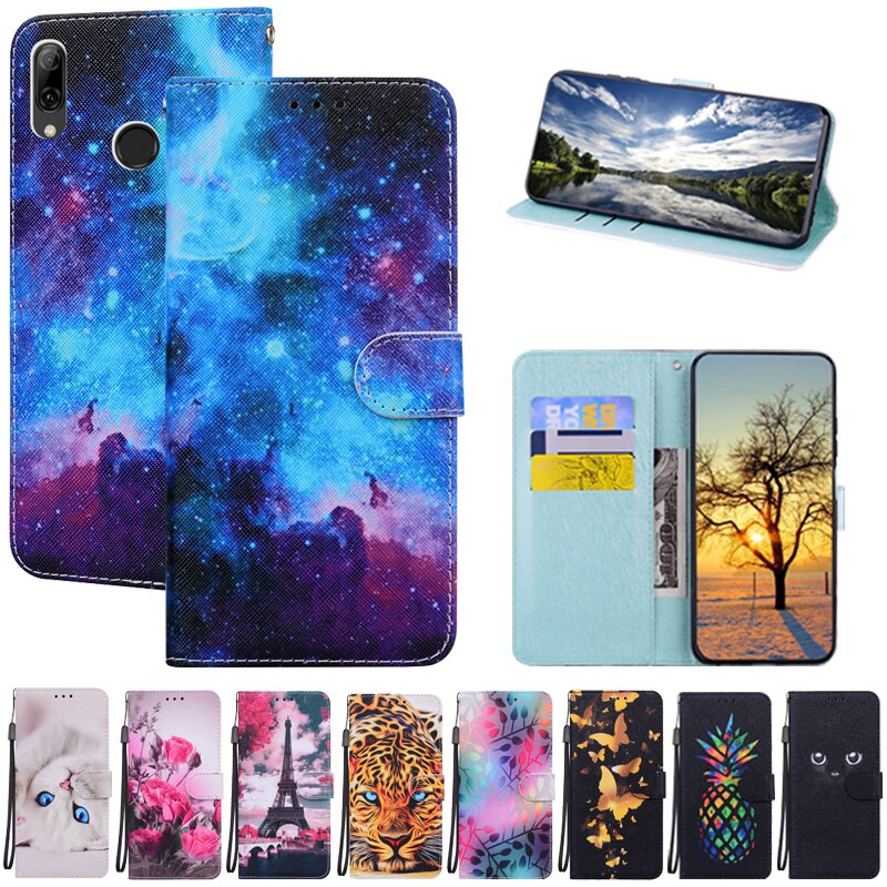 For Huawei P Smart 2019 Case Pu Leather Magnetic Flip Stand Phone Case on for Fundas Huawei P Smart