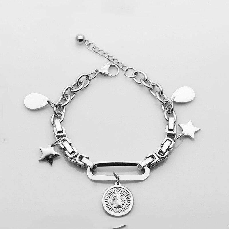 Religiöse Charme Saint Benedict Armband Teardrop 316L Edelstahl San Benito Stern Kette Medaille Armbänder für Frauen Schmuck