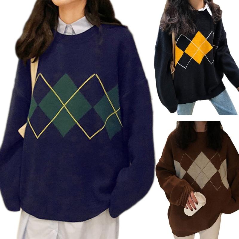 Women Long Sleeve O-Neck Sweater Argyle Plaid Pattern Oversized Knitwear Tops
