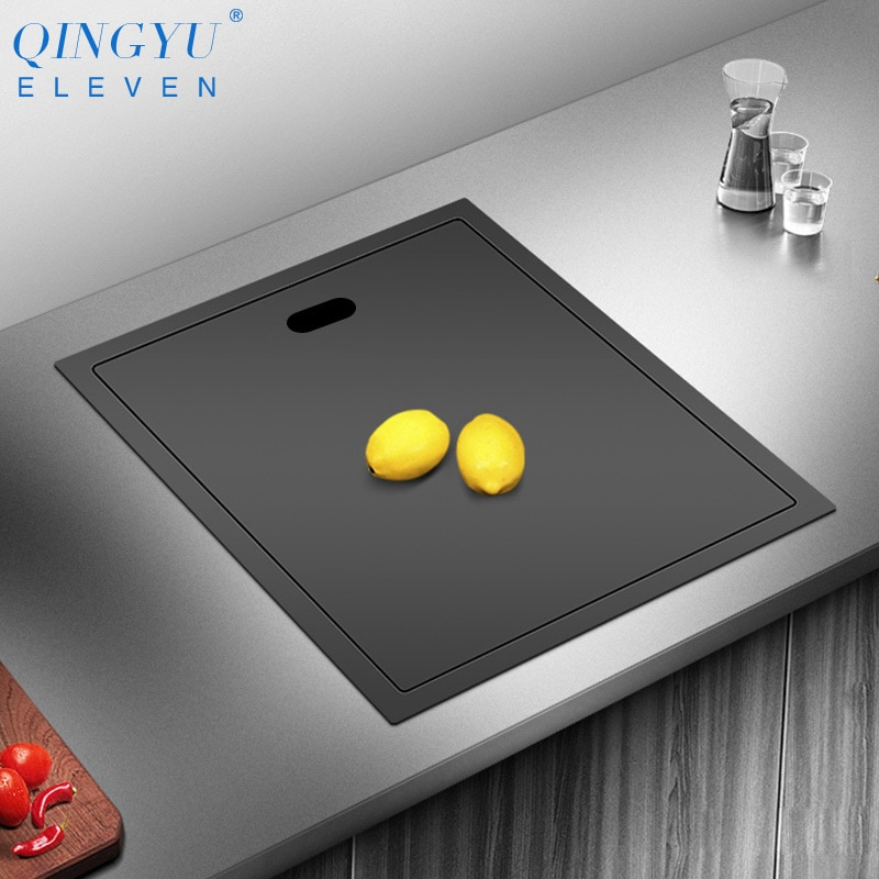 New Nanometer Black 304 Stainless Steel Handmade kitchen Bar Counter Sink Cover hidden Single Kitchen Small Size Kitchen Sink