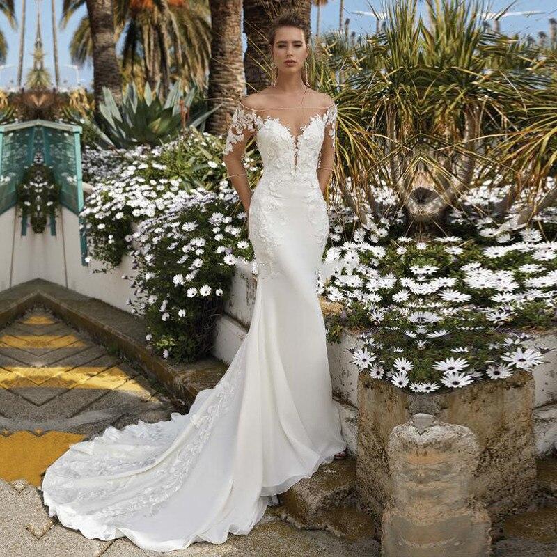 Фото - Женское облегающее свадебное платье с рукавом 3/4, садовое длинное платье-Русалка с естественной талией, свадебное платье, 2021 платье 3 pommes 3 pommes po013egzrt57