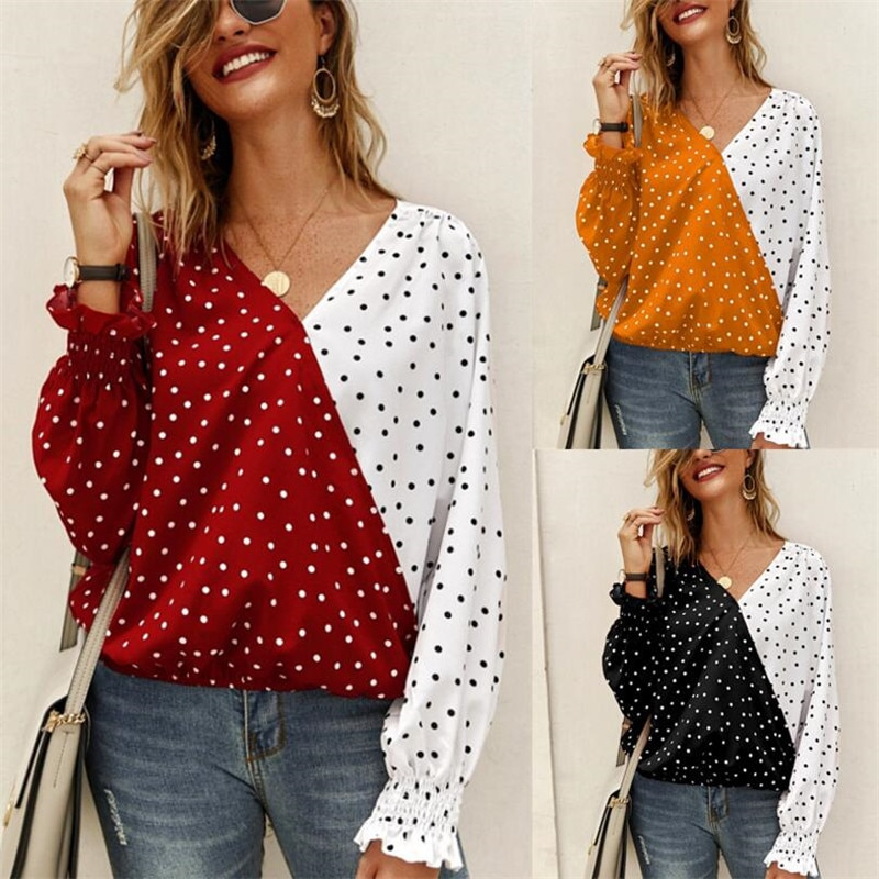 Autumn new style casual ladies blouse stitching ruffled V-neck butterfly long-sleeved chiffon shirt top loose shirt office lady